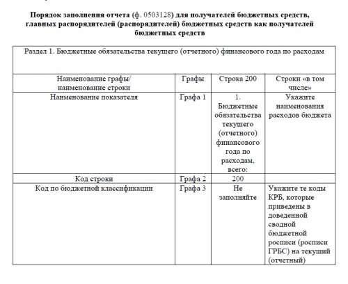 Отчет о бюджетных обязательствах ф. 0503128